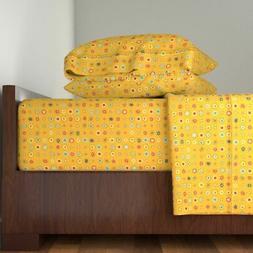 Dots Yellow Boys Girls Stripes Whimsical Cotton Sateen Sheet