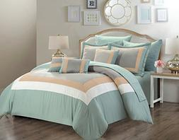 Chic Home 10 Piece Duke Complete pieced color block bedding,