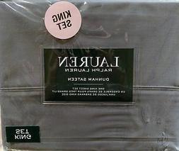 Ralph Lauren 4 Piece Dunham Sateen Sheet Set Charcoal Gray K