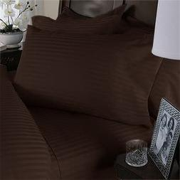 EASTERN KING Size, DARK BROWN Damask Stripe, 1500 Thread Cou