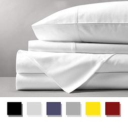 Mayfair Linen 100% Egyptian Cotton Sheets, White Queen Sheet