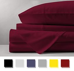 Mayfair Linen 100% Egyptian Cotton Sheets, Burgundy King She