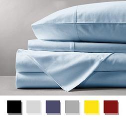 Mayfair Linen 100% Egyptian Cotton Sheets, Sky Blue King She