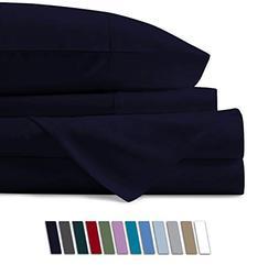 Mayfair Linen 100% Egyptian Cotton Sheets, Navy Blue King Sh