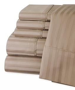 Mellanni 100% Egyptian Cotton Striped Bed Sheet Set - 450 Th