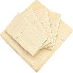 Cosy House Collection Elegant Bed Sheets - King Size, Cream