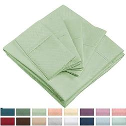 Cosy House Collection Elegant Bed Sheets - King Size, Sage G