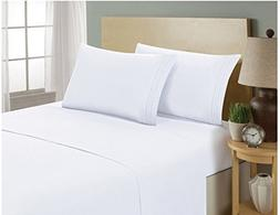 "ELEGANT FITTED SHEET KING SIZE 16"" DEEP WHITE - WITH 2 PC PI"