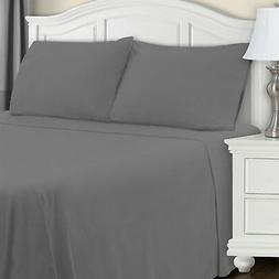 Blue Nile Mills Extra Soft Fitted Sheet, Grey Solid, King Ne