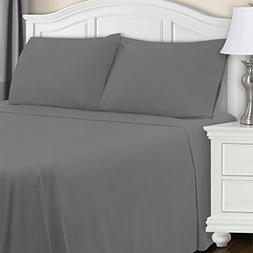 Blue Nile Mills Extra Soft Fitted Sheet, Grey Solid, King
