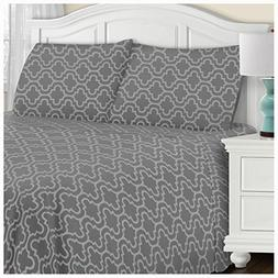 Blue Nile Mills Extra Soft Fitted Sheet, Grey Trellis, King