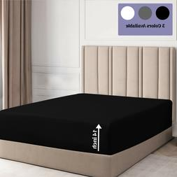 """Fitted Sheet Deep Pocket 1800 Series Microfiber 14"""" Fitted S"""