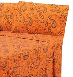 MARRIKAS FLANNEL SHEET SET KING PUMPKIN PAISLEY