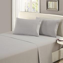 Mellanni Flat Sheet King Light-Gray - HIGHEST QUALITY Brushe