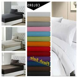 Flat Sheet Collection 1900 Count Wrinkle Free Soft Solid Bed