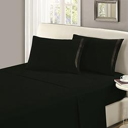 flat sheet king black brushed