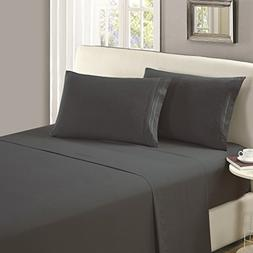Mellanni Flat Sheet King Gray Brushed Microfiber 1800 Beddin