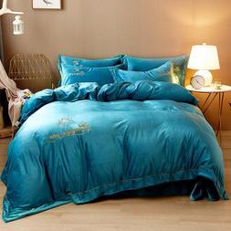 Fleece Velvet Luxury Soft Bedding Set Warm Flannel Embroider