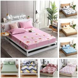 Floral Bed Cover Fitted Sheet Mattress Protector Bedding Ful