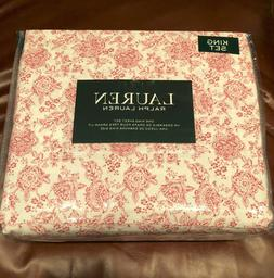 Ralph Lauren FLORAL Cranberry Red & White KING Sheet Set--NW