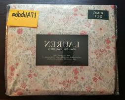 Ralph Lauren FLORAL King Sheet Set White Pink Gray NEW NIP