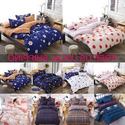 Floral Quilt Duvet Cover Set Bed Flat Sheet Pillowcase Beddi