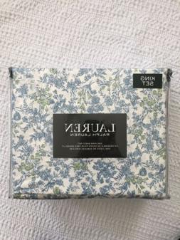 Ralph Lauren Floral Sheet Set King Size Bed 4 Piece Blue Gre