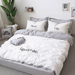 Fringe Bedding Sets White&Grey - MeMoreCool 100% Cotton Embr