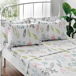 Brielle Gardenia 100% Cotton Printed Sheet Set, King, 6 Piec