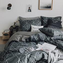 HIGHBUY Geometric Bedding Sets King Grey for Boys Men 3 Piec