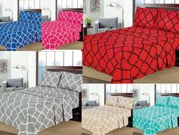 "Geometric Printed 4-Pcs Sheet Set 16"" Deep Pocket Bed Sheets"