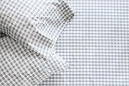 Thread Experiment Gingham Print Sheet Set for Men, Charcoal,