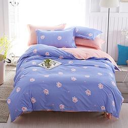 Lemontree 4Pcs Girls Bedding Sets Cute Animal Footprint Patt