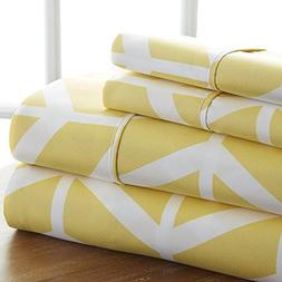 4pc Girls Coral Yellow Arrow Cal King California Sheet Set,