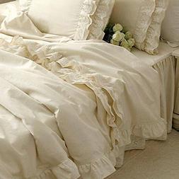 Brandream Girls Korean Ruffle Bedding Sets Romantic Ivory Du