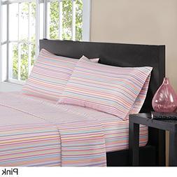 Ln 4 Piece Girls Teal Blue Pink Pinstripes Sheets Cal King C