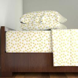 Gold Metal Polka Dot Abstract 100% Cotton Sateen Sheet Set b