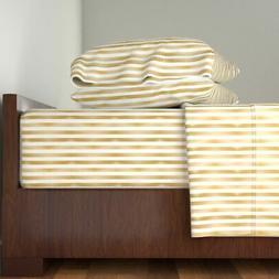 Gold Metallic Stripe Gold And White 100% Cotton Sateen Sheet