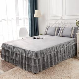 Gray orange lavender Lace <font><b>Bed</b></font> Skirt with