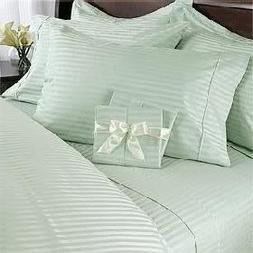7 pc Green  Damask Stripe King Size Bed Sheet-Duvet Cover Sh