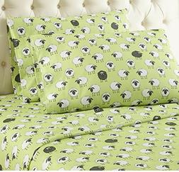 4 Piece Green Sheep Theme Sheet King Set, Beautiful All Over