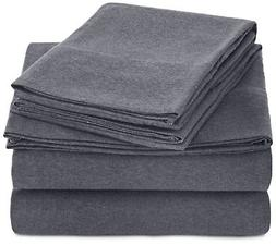 AmazonBasics Heather Jersey Sheet Set - King, Dark Gray