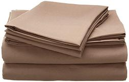 Rinku Linen Heavy Fabric Sheet Set King Size  Taupe Solid Eg