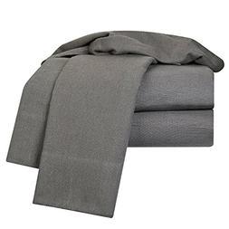 Heavyweight 100% Cotton Flannel Sheet Set, King - Dark Gray