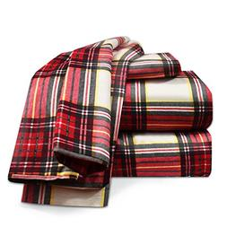 Heavyweight 100% Cotton Flannel Sheet Set, King - Red Plaid