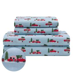 Holiday Microfiber Bedding Sheet Set Christmas Tree Truck Re