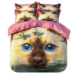 KTLRR Home Textile 3d Design Cat Bedding Set Cartoon Cute An
