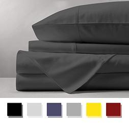 Mayfair Linen 100% Egyptian Cotton Sheets, Dark Grey Califor