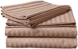 ITALIAN 1500 Thread Count 4PC Striped KING Sheet Set, TAUPE