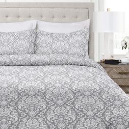 Italian Luxury Damask Pattern Duvet Cover Set - 3-Piece Ultr
